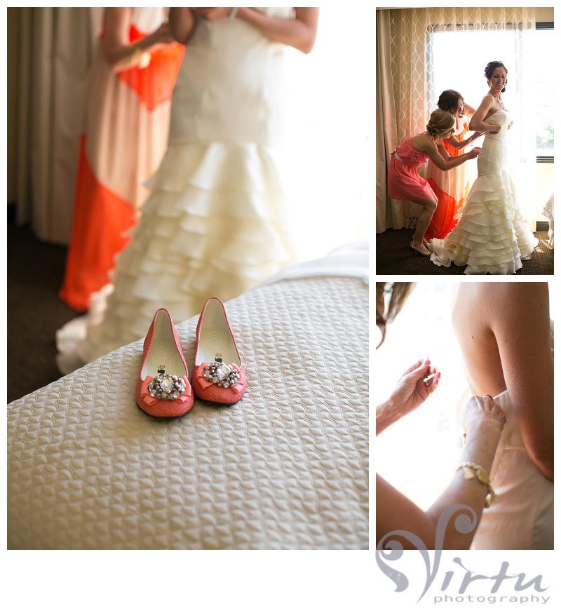 putting dress on wedding