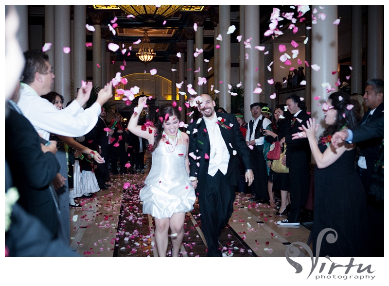 rose petals exit at wedding reception