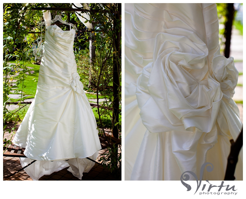 bride dress hanging at Hummingbird House Austin TX