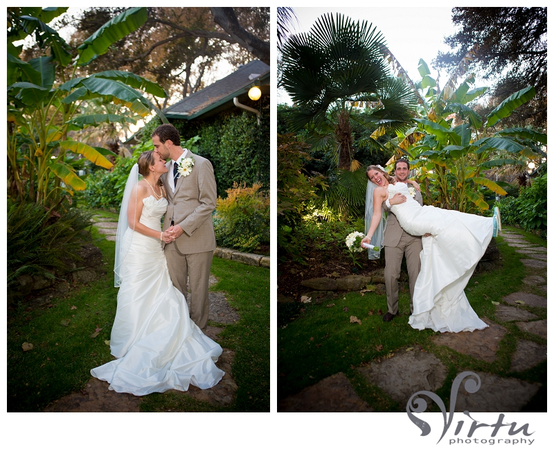 bride and groom poses, hummingbird house