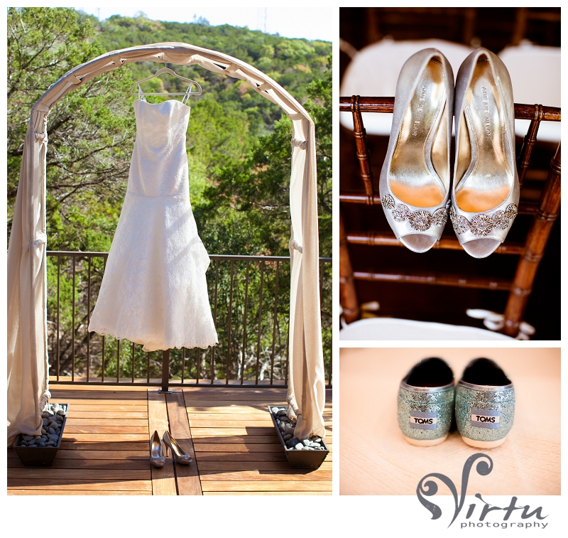 toms wedding shoes, dress hanging in arbor